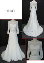 custom made off shoulder wedding dress/simple long sleeve wedding dresses