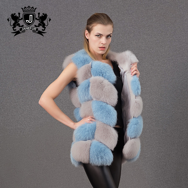 New trendy fashion Block pattern colored fox fur vest for women