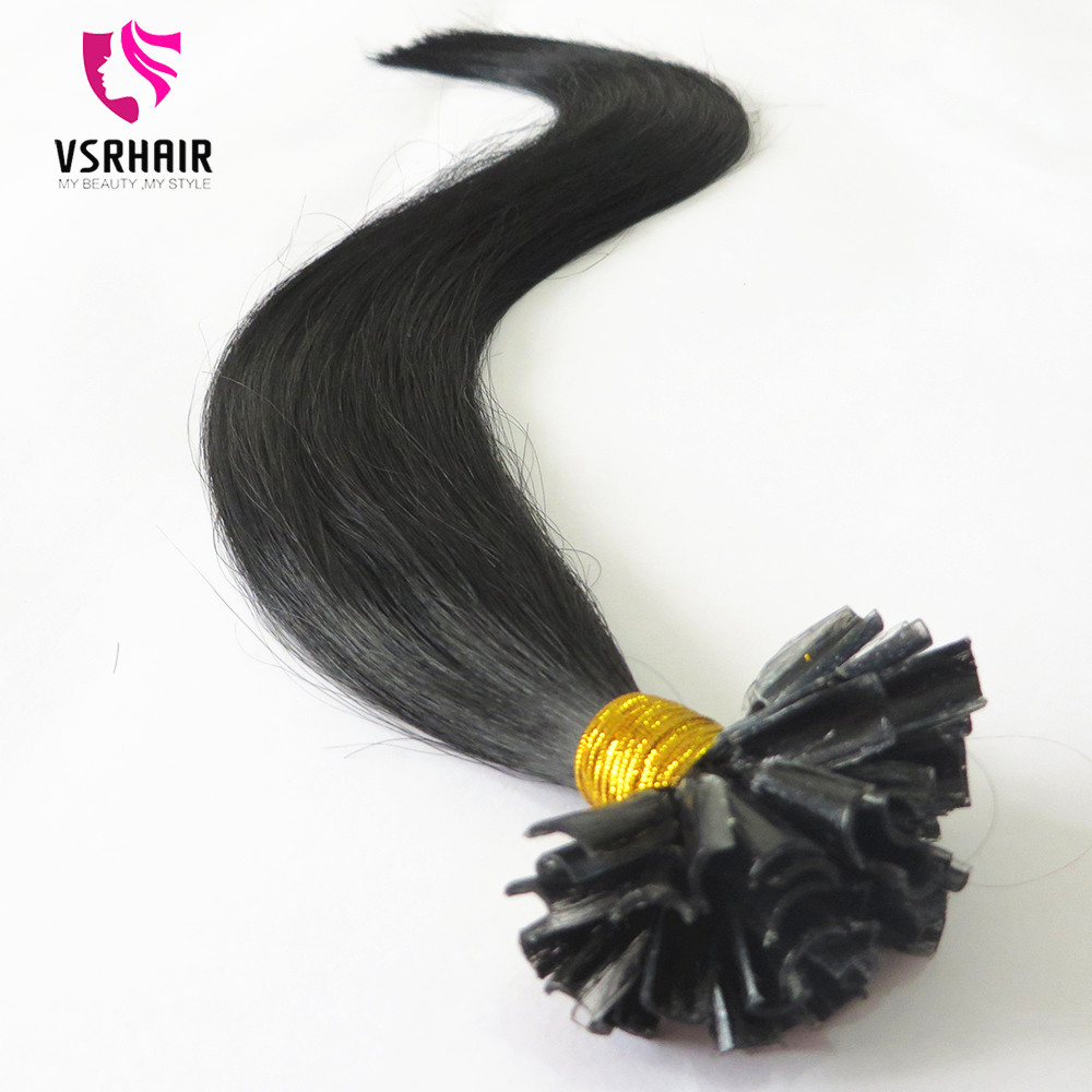Nail tip hair keratin bond double drawn human hair extension