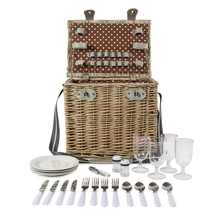4 Person Wicker Picnic Basket Deluxe Woven Willow Vintage Hamper Set - Porcelain Plates Stainless Steel Silverware