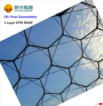 Transparent ETFE membrane structure for building roof and commercial hollow free design