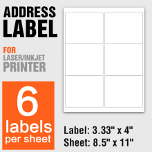 "Logistics UPS Shipping adhesive labels sheet A4 6UP 3.33"" x 4"""