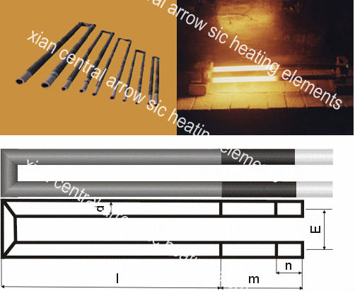 u type silicon carbide heating element