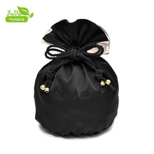 Small Pouch Logo Printed gift silk satin luxury drawstring bags