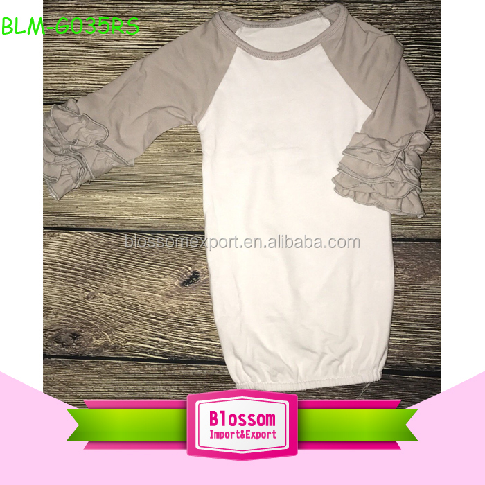Newborn White Blank Baby Sleeping Gown Baby Long Sleeve Icing Ruffle Raglan Night Gown