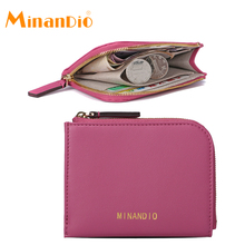 MINANDIO Leather money clip handmade wallet manufacturer,PU leather women coin pouch ultra slim zipper design