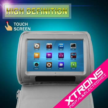 "HD908T: Xtrons 2 x 9"" Grey Color HD Headrest Car DVD Player with Touch Screen"