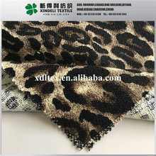 2017 Fashion ladywear 100% polyester bonded terry fleece fabric leopard print XLZ393 zhejiang