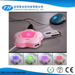 Best promotional gift micro usb hub, custom logo with led light 4 port usb hub