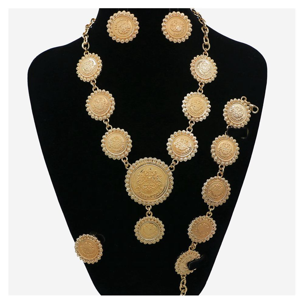 Necklace jewelry african beads earrings wedding golden jewelry ring