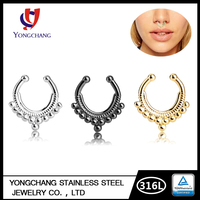 Gold Yellow Brass Metal India Fashion Septum Nose Rings Jewelry For Women