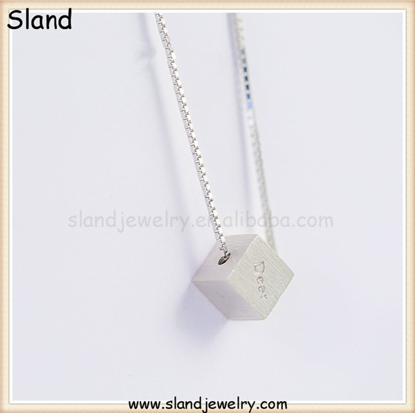 alibaba SLand Jewelry wholesale wholesale sterling silver pendants - Matte brushed Cubic bead charm pendant engraved Dear word