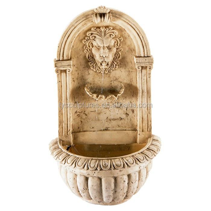 Regal+Lion+stone +Wall+Fountain