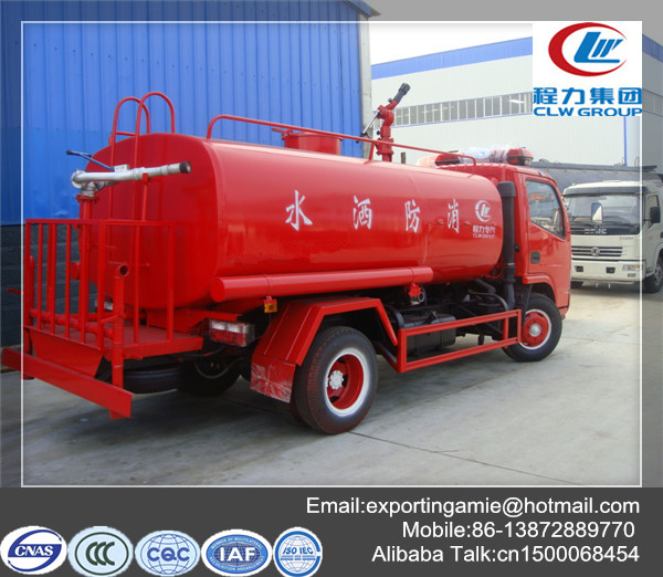 5 ton small fire fighting water tank truck price