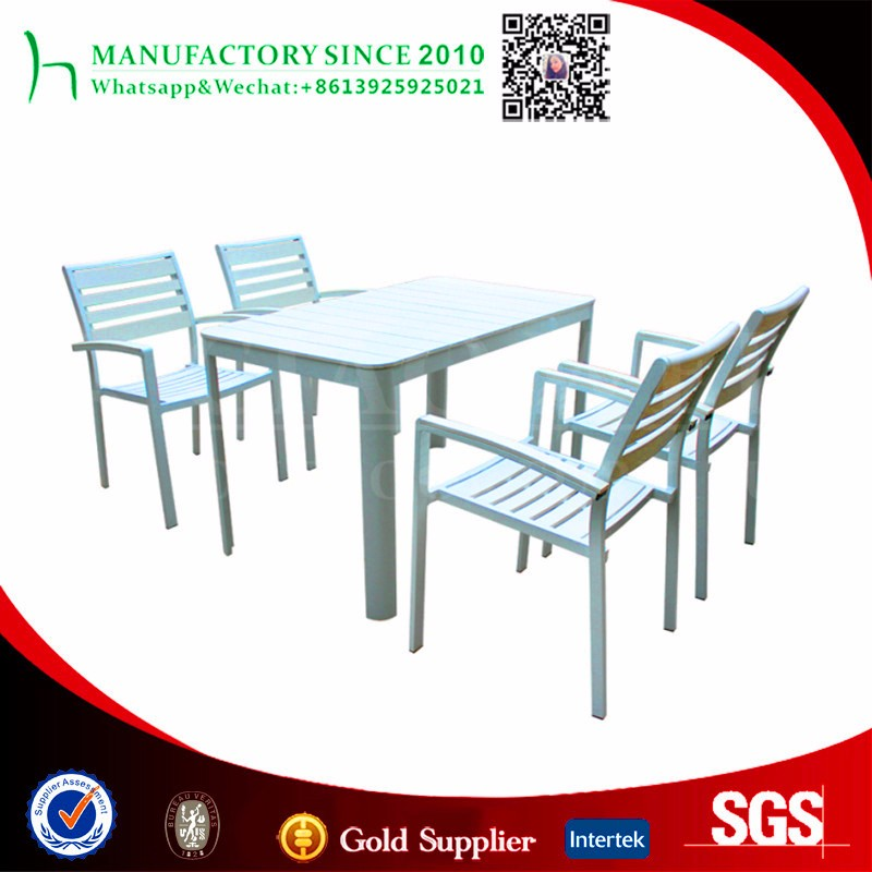 Outdoor wood patio furniture plastic wood dining table and chair