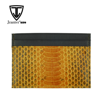Customized Logo Genuine Snakeskin Slim Credit Card Wallet Holder Business Card