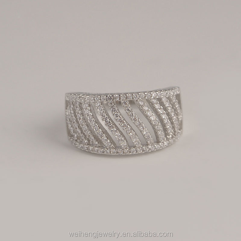 2017 Layered hollow design cz silver ring for women wholesale jewelry supplies china