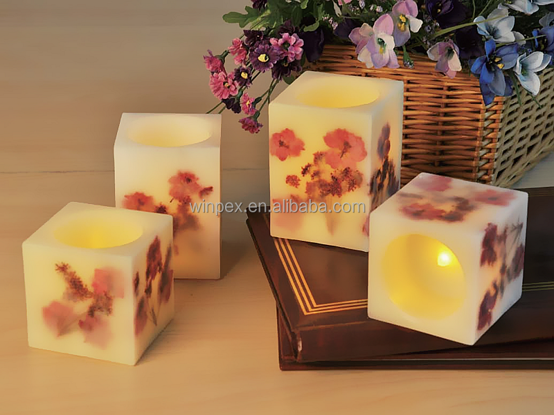 Battery Operated LED Wax Candles Small Square Pillar Candles With Dried Flower Embedded