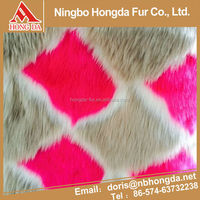 New Productsdiamond rose red faux fur shaggy fur fabric