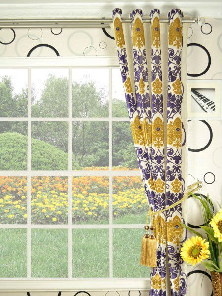 Hebe Floral Damask Velvet Curtains