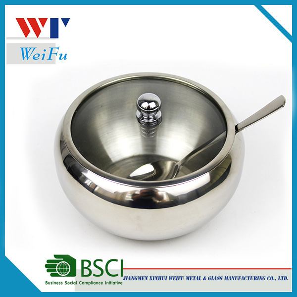 Kitchen High Capacity Stainless Steel Sugar Bowl with Glass Lid and Spoon