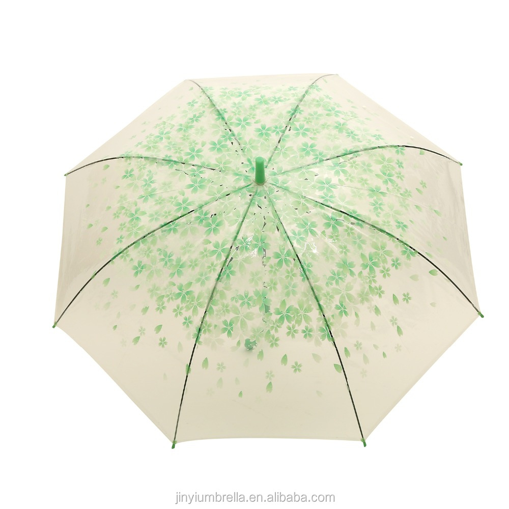 Wholesale flower print long handle kids dome PVC clear transparent umbrella