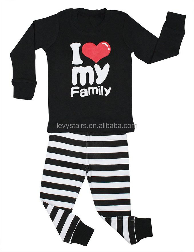 Baby bequict clothes sets 2 pieces black shirts and Black and white striped pants faimily clothes sets