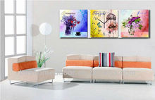 Modern flower wall painting picture, painted pictures of flowers,wall clock modern interior