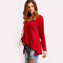 Blank t shirt Spring Women New Arrival Tops Plain V Neck Lace Up Tees Long Sleeve Dipped Hem Hooded Casual Loose T-Shirt XTY753
