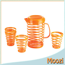 clear orange Plastic Water Jug Set With 4 Cups
