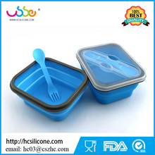 One Compartment Bento BPA Free Collapsible Silicone Lunch Box with Forks and Spoon