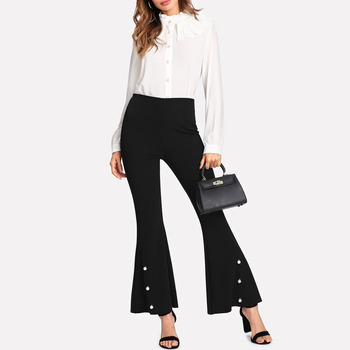 2018 new style fashion flare leg long black women pants