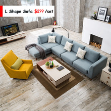 Competitive Price Modern Nordic Style L Shape Fabric Sofa Wholesale