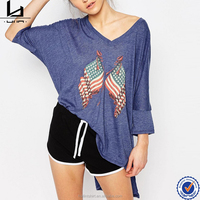 Newest arrival high quality fashion dropped shoulder long sleeve oversized american flag t shirt