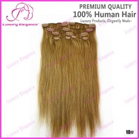 Medium Ash Brown Color 10# 100% Brazilian Hair Clip-on hair Extension For Sale