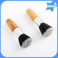 Wholesale single piece synthetic hair wood handle cosmetic make up brushes Kabuki makeup brush