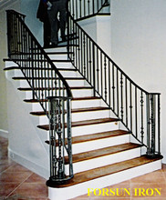 exterior portable curved wrought iron stair railings