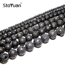 Natural Black Volcanic Lava Rock Stone Round Stone Beads Wholesale DIY For Jewelry Bracelet Making 4 6 8 10 12 14 mm