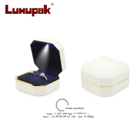 Hot Square LED Light Jewelry Box Wedding Ring Box Case With LED Light Jewelry Display Black Rubber Paint Ring Storage Box