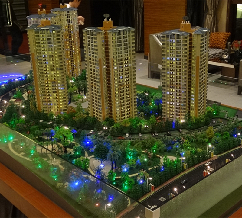 High- rise residential building architecture model for real estate