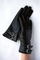 sheep leather gloves with belt for lady