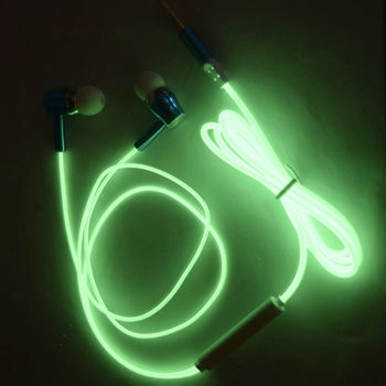 Glow In Dark Luminous Earphones Glowing earphone for phone 3.5mm Connectors