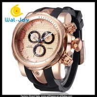 WJ-5083 2015 new times false three disc 3atm water resistant SHHORS sport man gold silicone wristband watch