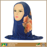 Navy blue rose floral print fashion new designs muslim scarf womens hijab