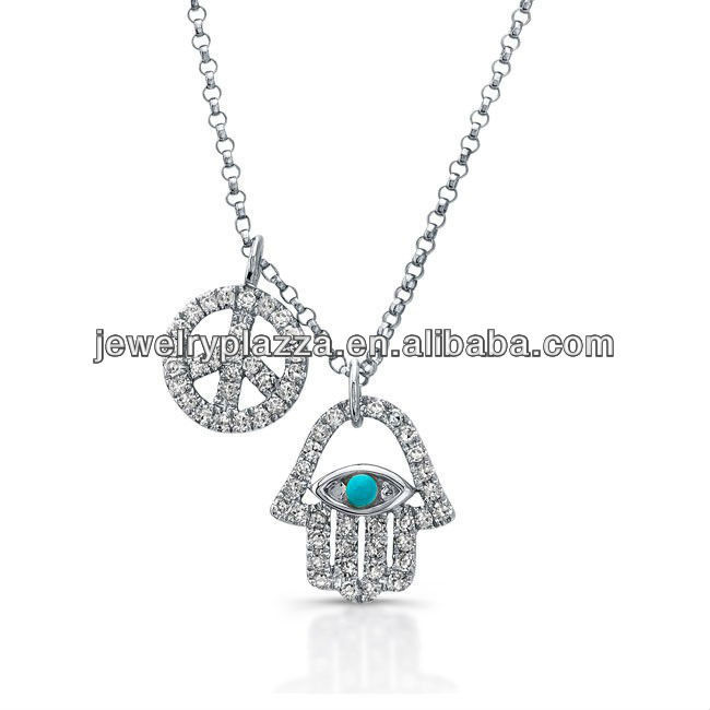 Fashion 925 Sterling Silver Hamsa Jewerly,White Gold Hamsa-Peace Necklace(M-1804)
