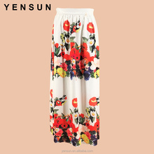 Middle East Women Elegant Floral Printed Long A-Lined Maxi Skirt