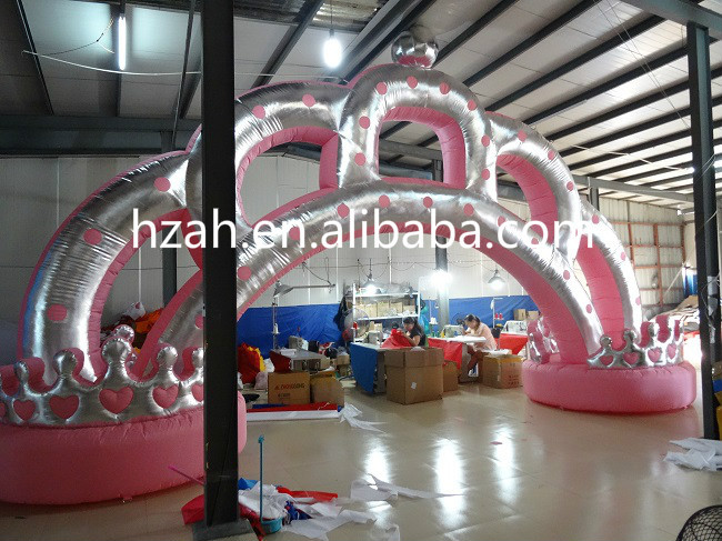 Wedding Decoration Pink Princess Crown Inflatable Arch/ Birthday Party Decoration Crown Arch