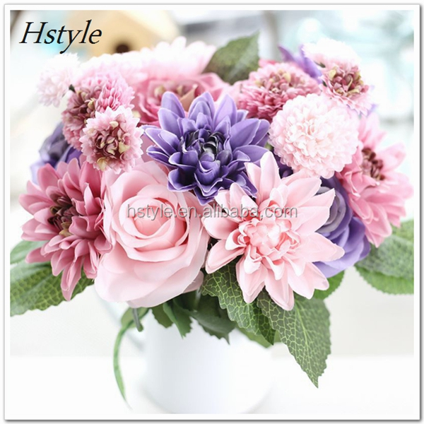 New Arrival High sale Decorative Artificial Real Touch Dahlia Rose Bouquet for Wedding Home Office FZH094
