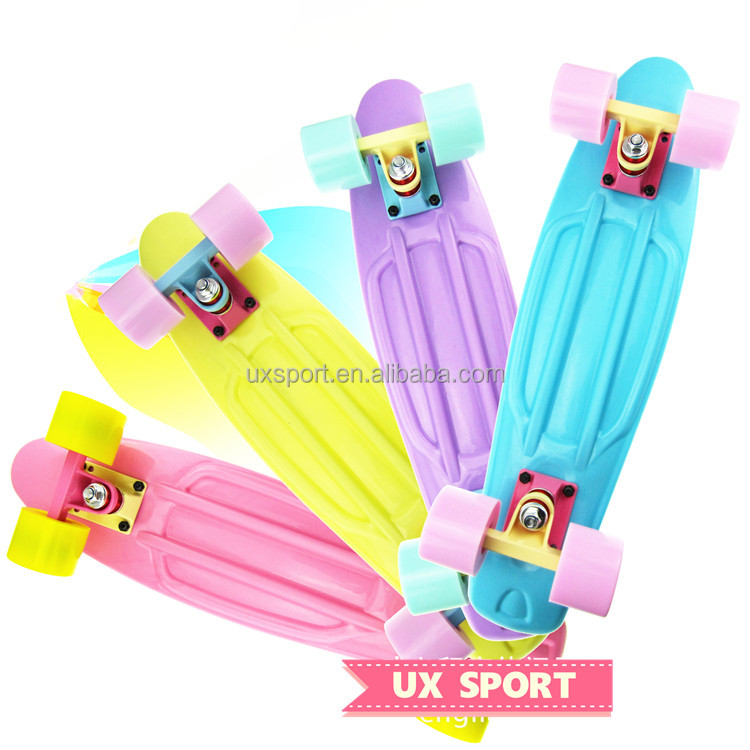 Pastel board 22 Inch EN71 mini cruiser plastic retro board fish complete skateboard