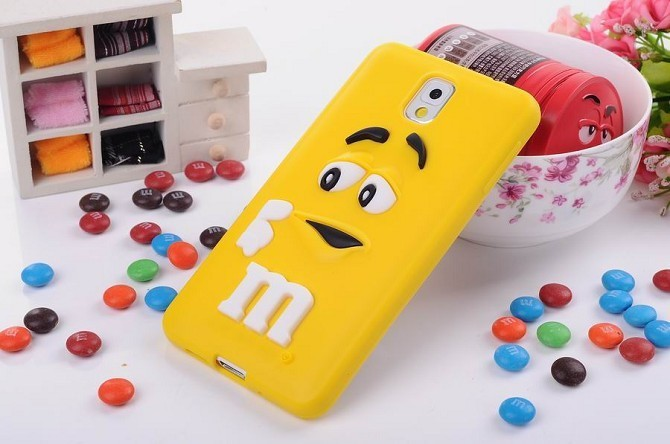 3D cute M&M Chocolate jelly Bean Silicone Case For Samsung galaxy note 3 n9000,500pcs/lot